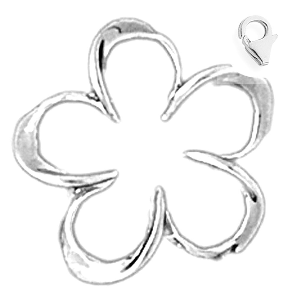 14K White Gold Plumeria Flower Slide Charm 18mm