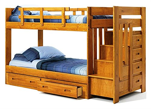 Chelsea Home Furniture 361548-R-S Twin Over Twin Bunk Bed with Reversible Staircase and Underbed Storage, 60