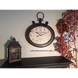 Large Rustic Metal Oval New York Wall Clock