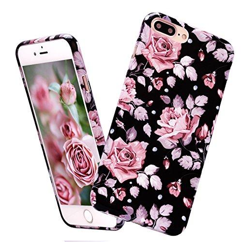 iPhone 7 Plus Cover,ZXK CO Custodia per iPhone 7 Plus in Silicone Gel Gomma TPU Massima Protezione da Cadute e Urti Tecnologia di Assorbimento Chiaro Gomma Ultra Sottile Copertura Case-Rosa