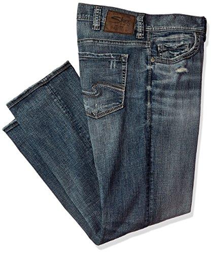 Zip Jeans Back Denim (Silver Jeans Men's Big and Tall Grayson Straight Leg Jeans, Medium Light Wash, 48x32)