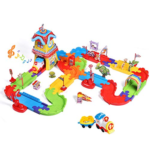 (FUN LITTLE TOYS 189 PCs Train Sets with Variable Railway Tracks, Electric Toy Trains with Lights and Sounds, 3D Puzzles Train Track Accessories, Toy Train Set for Kids)