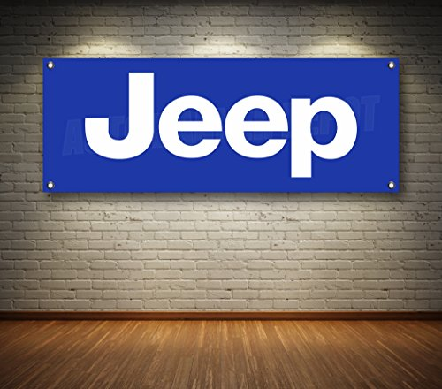 JEEP AUTO DEALER 1-SIDED BANNER SIGN 14oz VINYL -- MULTIPLE SIZES & STYLES (Blue, 24