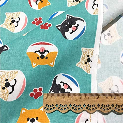 Fabric African|160cm50cm Cotton Cloth Cartoon Green Pink Akita Dogs Fabric for DIY Crib Bedding Dog Apparel Dress Patchwork Sewing Cloth|by SAULLA