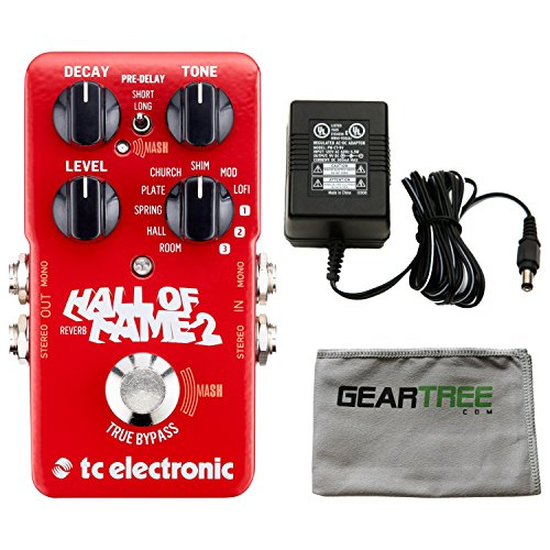 Sound Electronic Effects (TC Electronic 960661001 Hall of Fame 2 Electric Guitar Reverb Effects Pedal with ac adapter and Zorro Sounds Guitar Pedal Polishing Cloth)