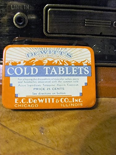 (vintage DeWitt's Cold Tablets tin)