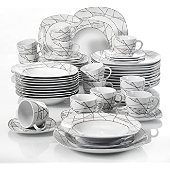 VEWEET 60-Piece Ceramic Dinnerware Set Ivory White Irregular Patterns Plate Sets Kitchen Plates Saucers  sc 1 st  Amazon.com & Amazon.com | VEWEET 60-Piece Ceramic Dinnerware Set Ivory White ...