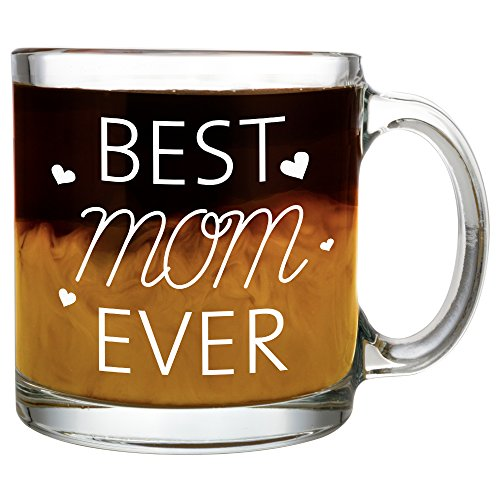 BEST MOM EVER Glass Coffee Mug 13oz – Quality Birthday Gift for Mom/Grandmom – Unique Novelty Gift for Her - Top Valentine's Day Gift Idea for Coffee/Tea Lovers & Family