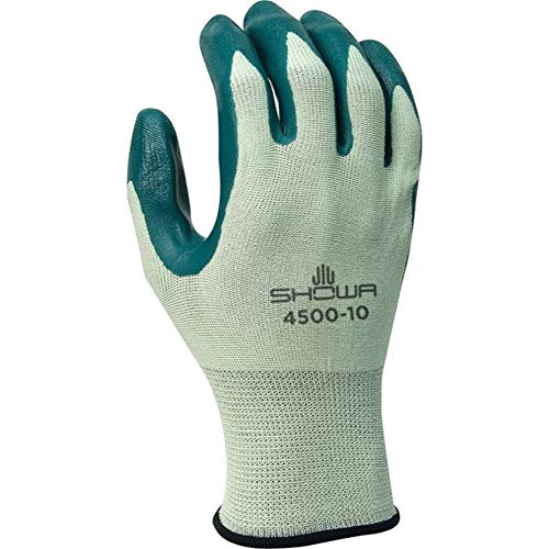 (SHOWA Best Glove Size 6 Nitri-Flex Lite Dark Green Nitrile Dipped Palm Coated Work Gloves With Light Green Seamless Nylon Knit Liner And Knit Wrist)