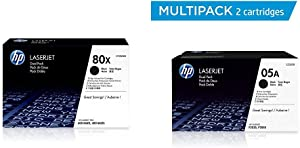 HP 80X | CF280XD | 2 Toner Cartridges | Black | High Yield & 05A | CE505D | 2 Toner Cartridges | Black
