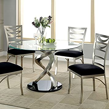 Roxo Modern Style Stain Plated 5 Piece Round Dining Table Set