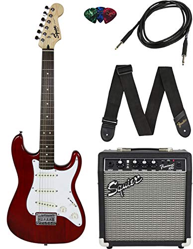 Squier by Fender Short Scale Stratocaster Pack with Frontman 10G Amp, Cable, Strap, and Picks –Red