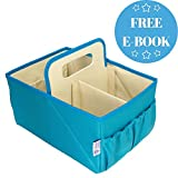 NEW Foldable Baby Diaper Blue Caddy Organizer - With FREE EBook | Baby Shower Gift | Best Portable Stacker & Sturdy Storage Caddie | Personalized Cloth Tray for Infant | Stylish Boy/Girl Travel Basket