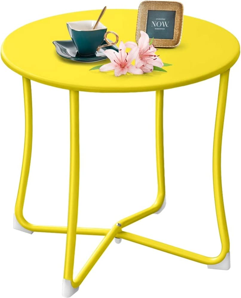 """Amagabeli Metal Patio Side Table 18"""" x 18"""" Heavy Duty Weather Resistant Anti-Rust Outdoor End Table Small Steel Round Coffee Table Porch Table Snack Table for Balcony Garden Yard Lawn, Yellow"""