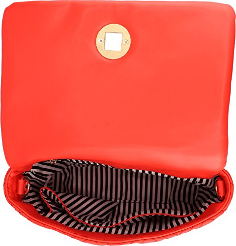 and Accent Cherry Chain Flap B BRENTANO Strap Stitch Vegan Double with Over Handbag Crossbody Quilt Tassel xnpf6C7wn