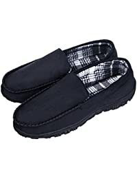 Men's Wool Micro Suede Moccasin Slippers Memory Foam Indoor Outdoor House Shoes