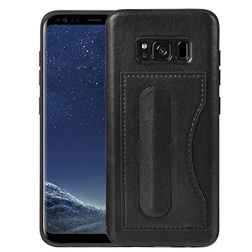 S8 Plus Wallet Case, Kickstand Case, MagicSky Ultra Slim Premium PU Leather Shock-Absorbing Protective Bumper Cover With Foldable Kickstand and Credit Card Slot for Samsung Galaxy S8 Plus - Black