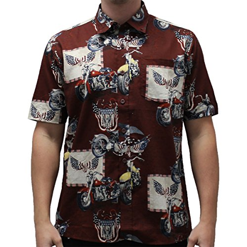 American Pride eagle with motorcycle Button Down Shirt (LARGE, TOSCA) (Hawaiian Motorcycle Shirt)