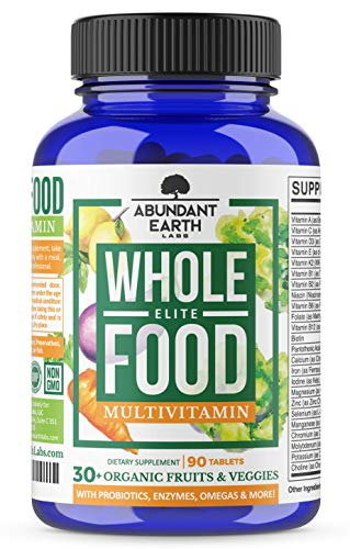 Whole Food Multivitamin Elite - Organic Multivitamin for Men and Women, Non-GMO, Vegan Multivitamin with Probiotics, Enzymes, B-Complex, Omegas for Daily Energy, Mood, Digestion, Heart Health,90 Count