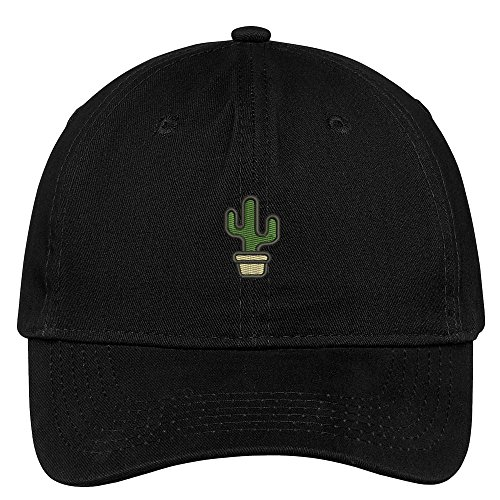 Trendy Apparel Shop Small Cactus and Pot Embroidered Soft Cotton Low Profile Dad Hat Baseball Cap