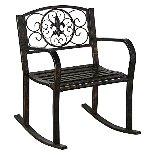 New Bronze Patio Metal Rocking Chair Porch Seat Deck Outdoor Backyard Glider Rocker