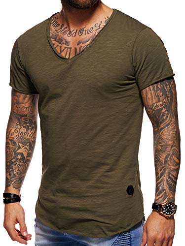 behype. Men's Basic V-Neck Casual Fashion Hipster T-Shirt Muscle Longline Tee Casual Premium Top D-1702 (M,Green) ()