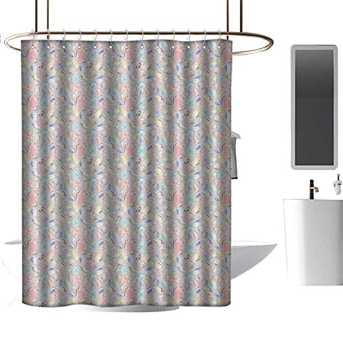 12' Oval Metal Diamond - Qenuan Shower Curtain for Bathroom Diamonds,Pastel Color Baguette Square and Oval Shapes Feminine Design Star Filled Backdrop, Multicolor,Clear Metal Thick Bathroom Shower Curtains 54
