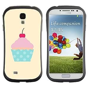 Suave TPU GEL Carcasa Funda Silicona Blando Estuche Caso de protección (para) Samsung Galaxy S4 I9500 / CECELL Phone case / / cherry yellow polka dot cupcake pink /