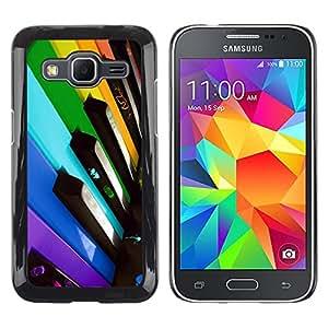 Shell-Star Arte & diseño plástico duro Fundas Cover Cubre Hard Case Cover para Samsung Galaxy Core Prime / SM-G360 ( Colorful Piano Keys )