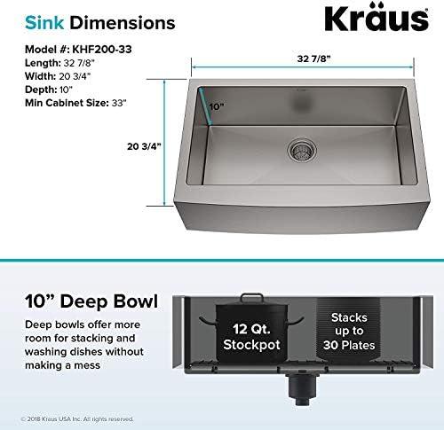 Kraus Khf200 33 33 Inch Farmhouse Apron Single Bowl 16 Gauge Stainless Steel Kitchen Sink Amazon Co Uk Diy Tools