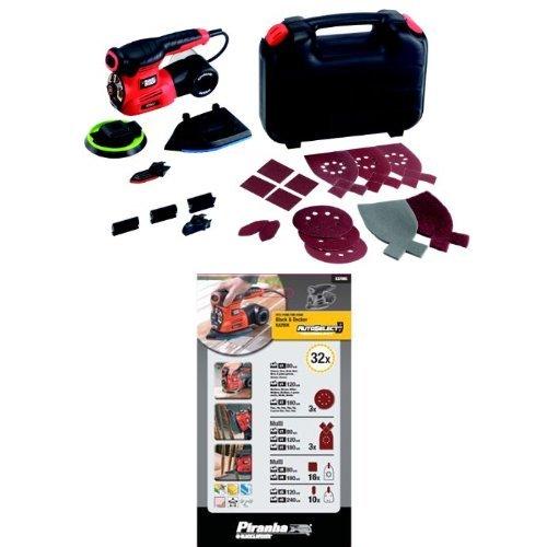Black + Decker KA280K Multiponceuse Autoselect 2 Vitesses + Black + Decker Kit 32 abrasifs X37095 pour ponceuse