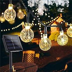 Garden and Outdoor Garden Solar Lights, 50 LED 24ft 8 Modes Waterproof String Lights Outdoor Fairy Lights Globe Crystal Balls Decorative… outdoor lighting