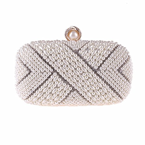 Evening Handbag KERVINFENDRIYUN Women's Bag Bag Small White Pearl Square Champagne Color Fashion wwrnBa5