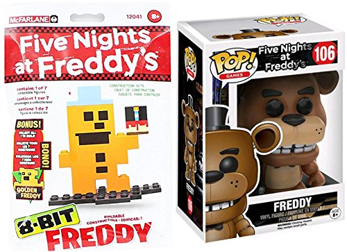 Scary Clown Jack In The Box (Funko Pop! Vinyl Five Nights At Freddy's #106 Figure + 8-Bit FREDDY Bag Construction Set collectible bundle)