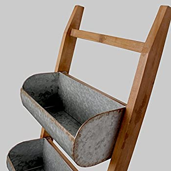 Kate and Laurel Pothos Wood and Metal Leaner Storage Bin Ladder, Rustic Brown