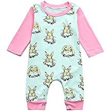 Daoroka Infant Baby Romper Boys Girls Unisex Easter Rabbit Printed Cartoon Long Sleeve Fashion Ankle-Length Jumpsuit Outfits (80M/6M, Green)