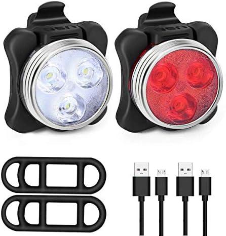Allnice Bike Light Set, USB Rechargeable Bicycle Light Mountain Bike Light, Super Bright waterproo Led Cycle Lights Rechargeable, Easy Mount USB Headlight Tail Light