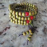6mm*108 Buddha Green Ebony SandalWood Prayer Beads Tibet Buddhist Prayer Mala Red Counting Beads