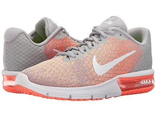 Nike Air Max Sequent 2 Wolf Grey/White/Bright Mango/Sunset Glow Women's Running Shoes 5.5 by Nike (Image #3)