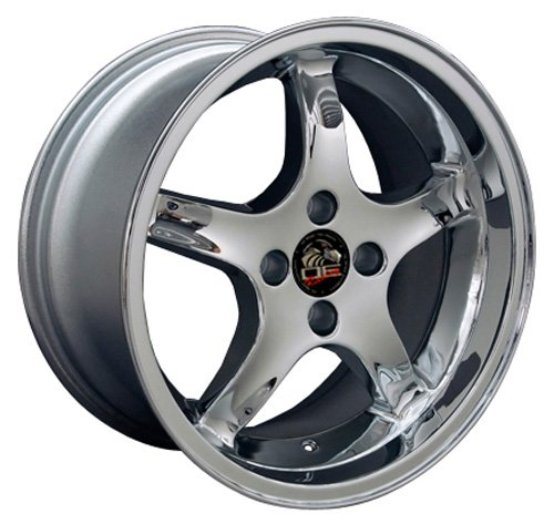 17x9 Wheel Fits Ford Mustang - 4-Lug Cobra R Style Chrome Rim - REAR FITMENT ONLY (17x9 Wheel Replica)