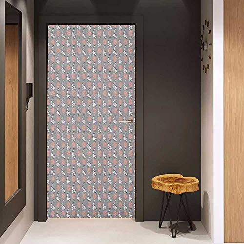 Onefzc Glass Door Sticker Decals Animals Cute Cartoon Bunny and Blooming Roses Pattern Fauna and Flora Design Door Mural Free Sticker W23 x H70 Pale Grey Pale Pink White