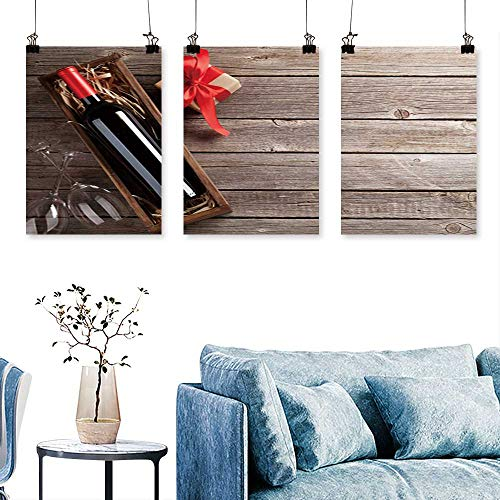 SCOCICI1588 3 Panels Triptych Valentines Day Greet car re Wine Gift Box Glasses on Wooden Table for Wall Decor Home Decoration No Frame 24 INCH X 47 INCH X -