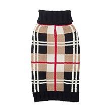 """Fab Dog Knit Turtleneck Dog Sweater Plaid, Camel/Multi, 14"""" Length"""