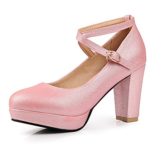 Chain Shoes Platform Pumps Heels Chunky Pink Metal 1TO9 Polyurethane Ladies EXq08