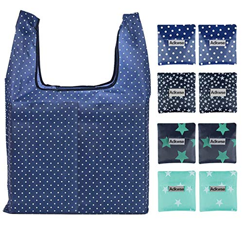 Adkwse Reusable Grocery Bags, Washable Shopping Bags, Large Foldable Grocery Tote Bags with Pocket, Durable and Lightweight (8 PCS)