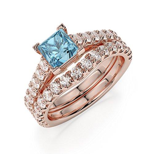 Or Rose 18carats 1CT G-H/VS Certifié aigue-marine et diamant coupe princesse de mariage Bague de fiançailles et ensemble de Agdr-2007