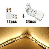 Glo-shine 12 pcs L Shape 2-pin 8mm Strip Light Connector,Corner Connector Quick Splitter for 3528 2835 Single Color LED Strip Light,Connectors included (12X L Shape PCB + 24 X Connector)