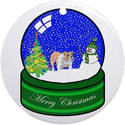 Voicpobo Snow Globe Bulldog Christmas Ornaments Round Novelty Ceramic Christmas Tree Decoration Ornament Gifts for Friends,for Family