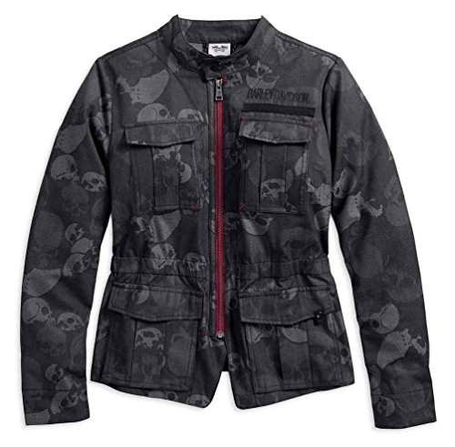 Harley-Davidson Women's Skull Jacquard Casual Jacket, Black 96040-18VW (XL)