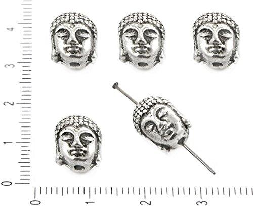 (4pcs Antique Silver Tone Buddhist Beads Buddha Head Face Mala Guru Tassel Jewelry Metal Findings 9mm x 10mm x 8mm)